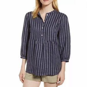 Striped Blue blouse linen